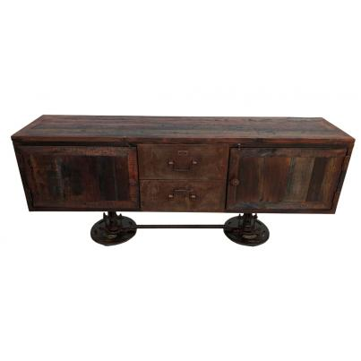 Reclaimed Wood and Metal Adjustable Sideboard