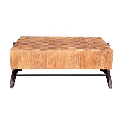 Reclaimed Wood Low Coffee Table with Chunky Mosaic Top & Metal Base