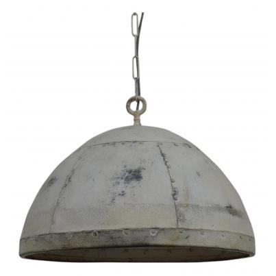 Iron Pendant Cargo Light in White Finish
