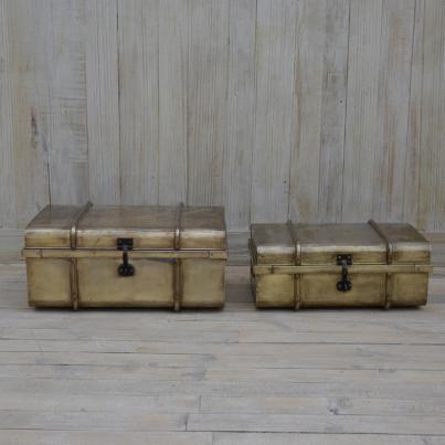 Set Of 2 Gold Colored Trunks