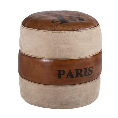 Leather And Fabric Round Pouffe
