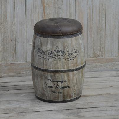 Barrel Style Champagne Stool with Leather Seat