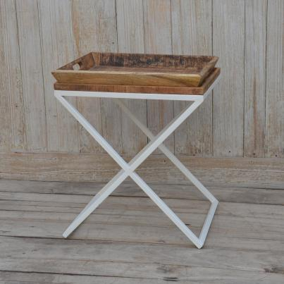 Metal Cross Legged Wooden Top Table