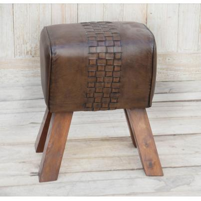Brown Leather Wooden Stool