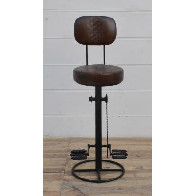 Iron Leather Bar Chair Stool