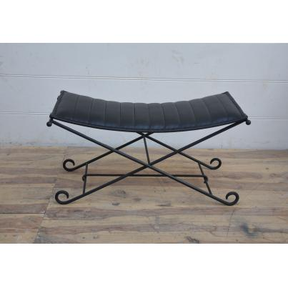Black Leather and Iron Foldaway Stool