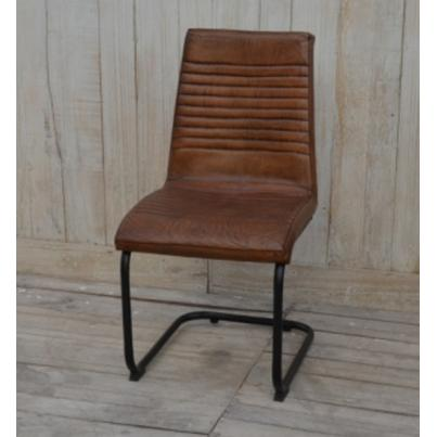 Brushed Buffalo Leather Dining Chair With Metal Frame