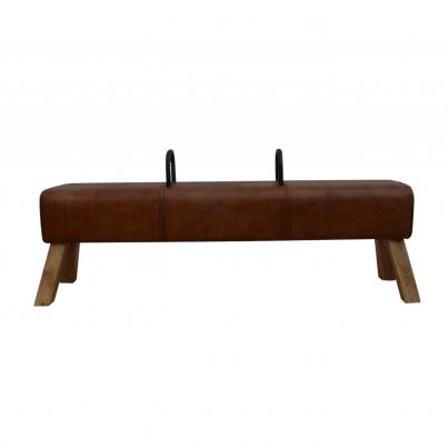 Pommel Horse Leather Dining Bench