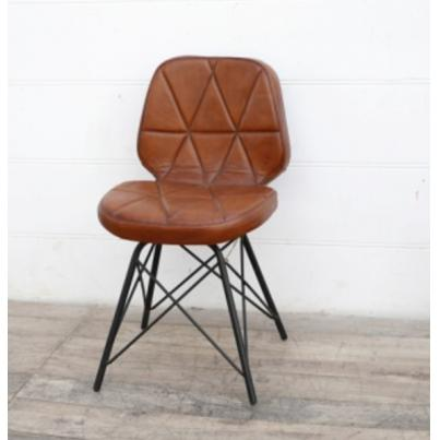 Padded Geometric Leather Chair