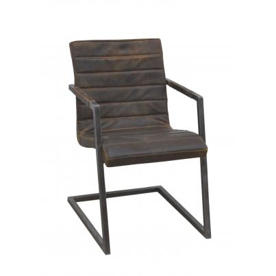 Ribbed Brushed Buffalo Leather Chair With Frame