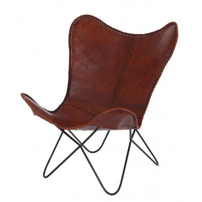 Iron & Leather Butterfly Chair