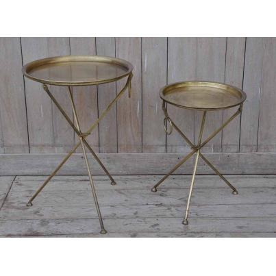 Gold Round Tray Tables Set Of 2