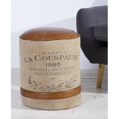 Leather and Canvas Pouffe Stool