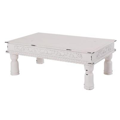 White Ornate Carved Coffee Table
