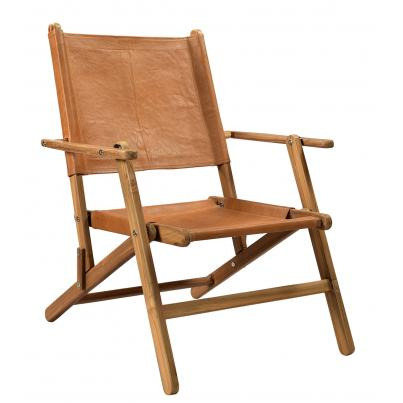 Brown Leather Wooden Chair