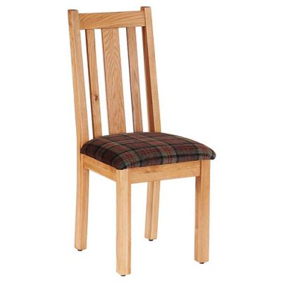 Vertical Slats Dining Chair with Moss Tartan Fabric Seat