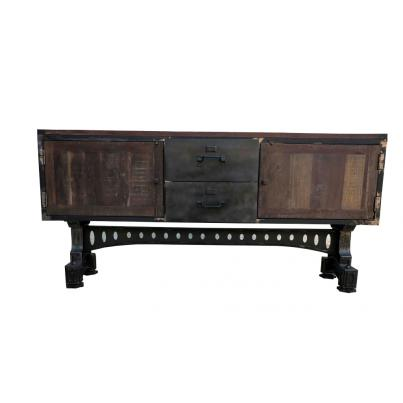 Reclaimed Wood and Metal Adjusting Sideboard