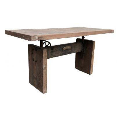 Reclaimed Wood and Metal Adjusting Dining Table