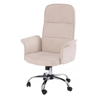 Beige Padded Office Chair with Armrest & Chrome Base