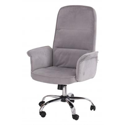 Grey Padded Office Chair with Armrest & Chrome Base