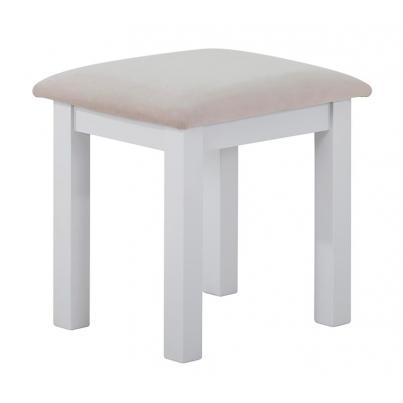 Dressing Stool with Plush Platinum Fabric Seat