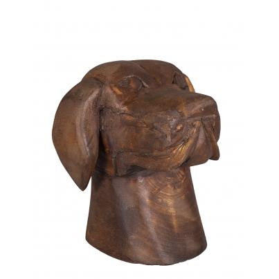 Large Hand Carved Wooden Dog Face