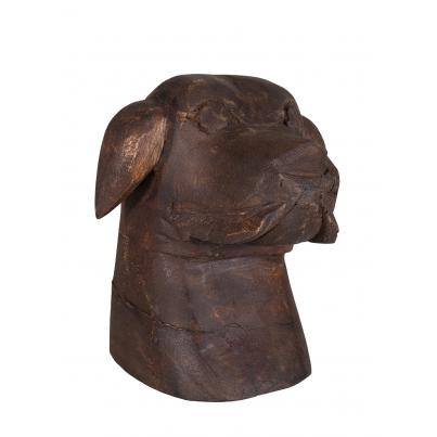 Small Hand Carved Wooden Dog Face