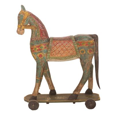 Hand Carved Vintage Horse on Wheels