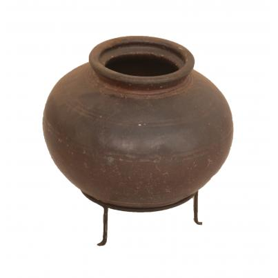 Antique Clay Pot On Stand