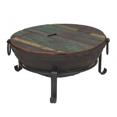 Antique Iron Firebowl on Stand with Grill & Wooden Top Small
