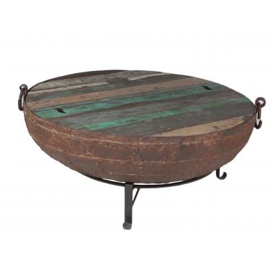 Antique Iron Firebowl on Stand with Grill & Wooden Top Med