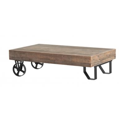 Reclaimed Wood & Metal Coffee Table with Wheels