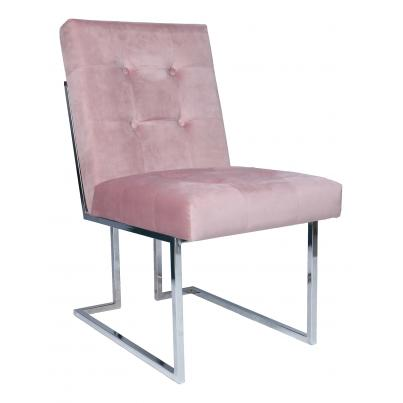 Pink Velvet Chair with Chrome Legs