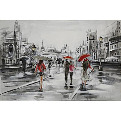 Tourists In The Rain Canvas