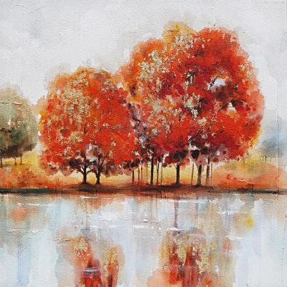 Autumnal Trees and Lake Canvas