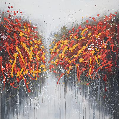 Abstract Autumnal Trees Canvas