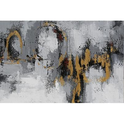 Contemporary Grey and Gold Abstract Canvas
