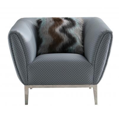 Grey Circle Stitch Chair